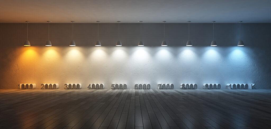Foto van de verhouding tussen lichtkleur en aantal Kelvin van ledlampen. Dit helpt de juiste ledlamp te kiezen